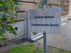 German Struture and Sensibility (neilberrett) Tags: sign germany forbidden urinating videotape