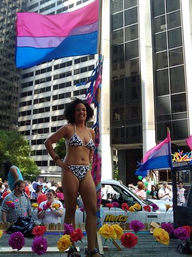 Julie on bi float at Pride Parade