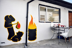 'Hobo BBQ' (Pahnl) Tags: street food dog art sign fire graffiti stencil paint drum barrel cook bbq meat eat oil hobo pahnl