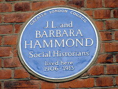 Photo of J. L. Hammond and Barbara Hammond blue plaque