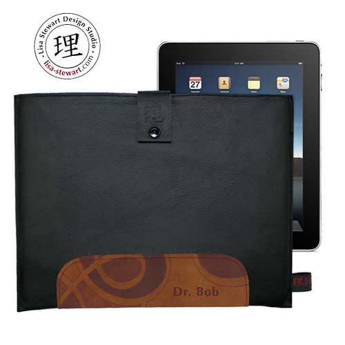 Personalized Black Leather and Cognac ipad Cover