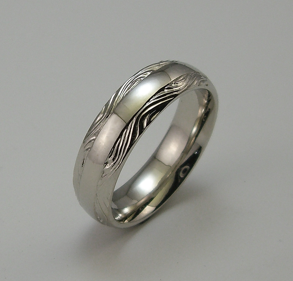 14K White Gold Wedding Band....Hand Engraved