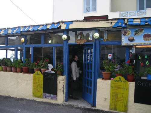 The only restaurant open in Oia