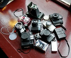 Toys! (sjnewton) Tags: camera uk winter england london vintage toys lomo supersampler pub nikon meetup kodak toycamera freezing fisheye plastic diana 16mm cheap 2009 d300 18200mmf3556gvr lpmg LPMG:meetup=20090110