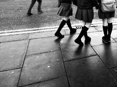 The misfit (Sator Arepo) Tags: school blackandwhite bw dublin students socks walking reflex streetphotography olympus misfit zuiko e330 uro 714mm retofz091110