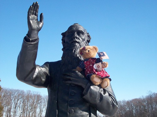 Photo by S. Beeghley: Civil War Sallie with Fr. Corby in Gettysburg