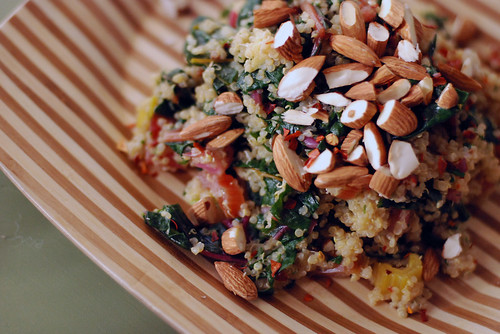 Coconut Quinoa with Greens and Almonds