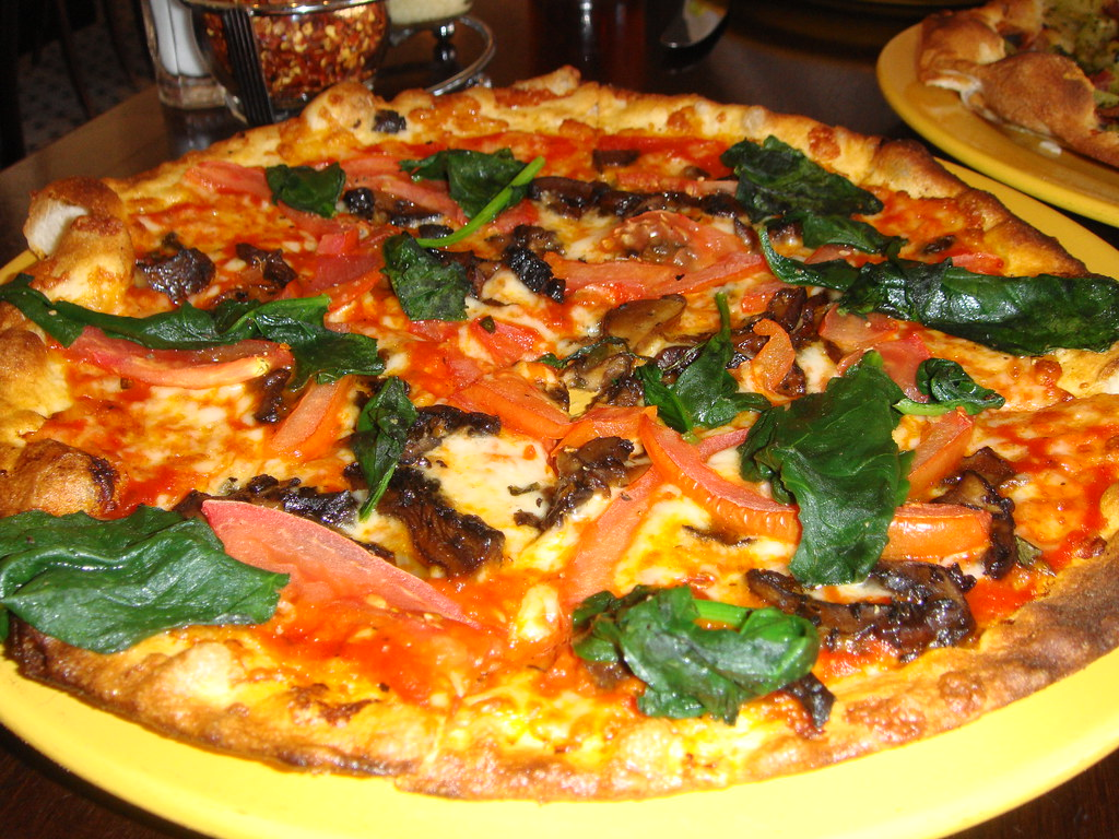 Spinach Tomato Portabello Pizza