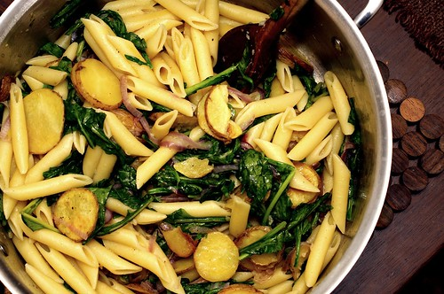 penne with potatoes and rocket