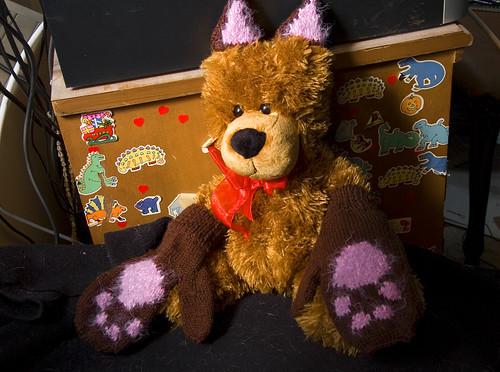 Mr. Bear Models My Knitting