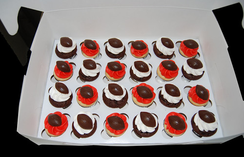 red and white football mini cupcakes
