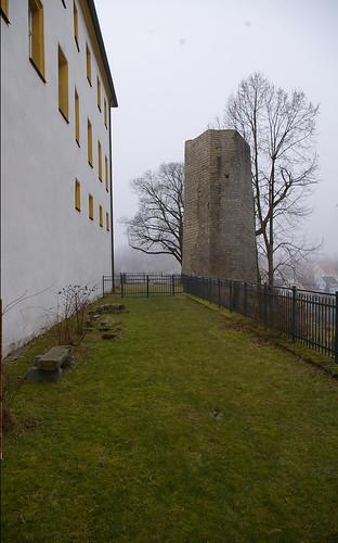 Fotomontage: Der Hussenturm am originalen Standort