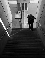 He' ll be Punctual. (Vincenzo L.D.) Tags: man scale station stairs watch uomo orologio stazione punctual salire blackwhitephotos puntuale togoupstairs