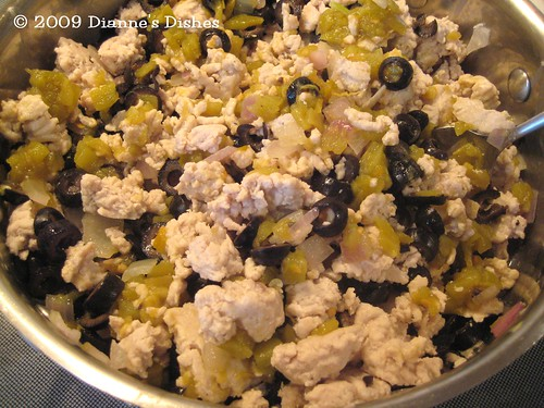 Mexican Casserole: Ground Turkey, Onions, Chile Peppers and Black Olives