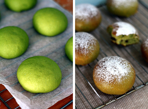 matcha, chocolate, buns, matcha chocolate buns, bread, green, food, baking
