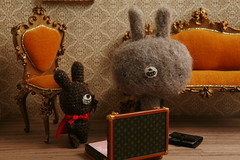The crime rate in TADA City is sky high. Something must be done. But what could two ordinary guys like us do about it? (TADA's Revolution) Tags: rabbit bunny miniature chair handmade oneofakind ooak crochet craft plush livingroom sofa s