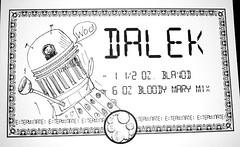 Dalek Drink (Futuregirl_LeahRiley) Tags: party costume drink shots drawing liquor drinks alcohol doctorwho dalek themed penandink blavod bloodymarymix doctorwhothemeddrinks themeddrinks