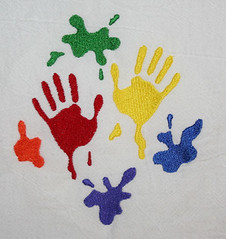 Hand Prints (Closet on Queen Creek) Tags: towels sack flour embroidered