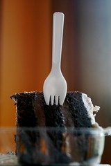 vegan cake, with spork