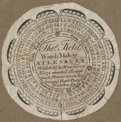 Thos Field Watch Maker Aylesbury (watchpaper + equation table)