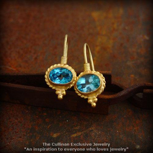 24K Solid Pure Gold Handmade Blue Topaz Dangle Earrings