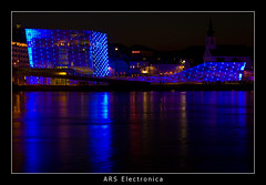 eBoat (nune) Tags: longexposure travel blue light reflection architecture night linz austria 2009 arselectronica kulturhauptstadt linz09 platinumheartaward