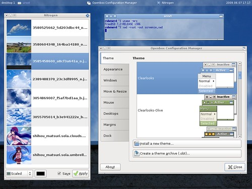 "Obconf, Nitrogen, urxvt on Openbox, my ""cloud"" theme :)"