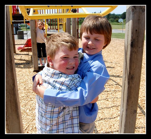 Hugs on the playground