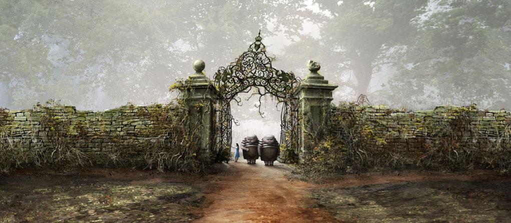 Escenario CGI Alicia en el País de las Maravillas Tweedledee y Tweedledum