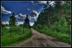 Way to the big city (anton khoff) Tags: blue trees sky sun green nature grass clouds forest canon way countryside russia lane rays sunrays 1022mm hdr canon1022mm