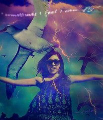 Addicted. (laurenicolephotography.com) Tags: portrait bird beach sunglasses birds tongue clouds photoshop self canon outside photography fly flying lyrics jump purple outdoor seagull addicted lightning edit laaaurenicole laurenicole