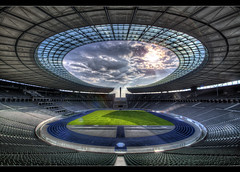 Olympic Stadium Berlin (Marcus Klepper - Berliner1017) Tags: world blue berlin architecture clouds 1936 deutschland football athletics heaven sonnenuntergang hauptstadt himmel wolken competition games ufo ring flame seats future olympia architektur olympic blau tor bahn dri hdr sonnenstrahlen hdri spandau olympiastadion hertha ringoffire tribhne 400m fusball bsc sommerspiele tonemapping olympisches mywinners flickraward marcusklepper feuer