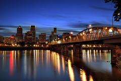 Portland Downtown Skyline and Hawthorne Bridge at Dusk