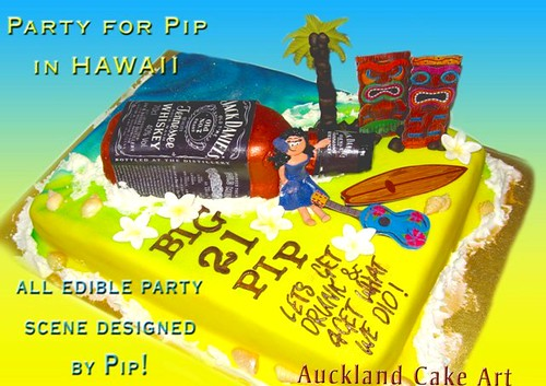 Miraculous Pips Hawaii Party 21St Birthday Cake A Photo On Flickriver Personalised Birthday Cards Veneteletsinfo