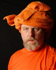 TRP: Portrait of a Man in an Orange Turban (Studio d'Xavier) Tags: portrait orange towel 8x10 tribute turban oldmasters thehitchhikersguidetothegalaxy douglasadams dontpanic towelday trp explored sooc strobist cynthiak therogueplayers
