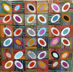 Un petit air cossais (chabronico) Tags: quilt stripes vert coton cotton quilting patchwork kaffefassett rouille rayures