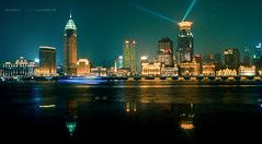 Shanghai | Bund Panorama (nickkpoon) Tags: china city urban panorama building art water architecture illustration night skyscraper river ship cityscape shanghai pudong bund lightroom thebund huangpu puxi lujiazui dsch10