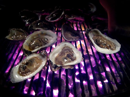 Oysters on the grill - before the explosions began