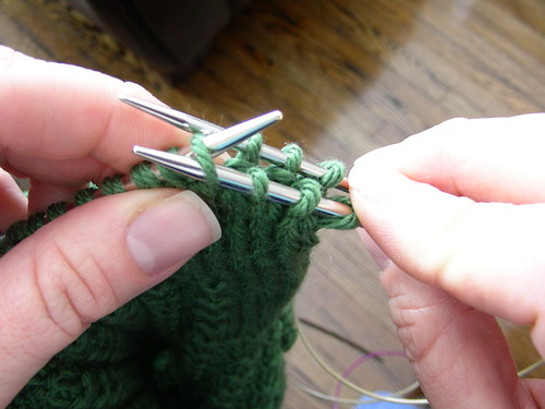 knits on front needle