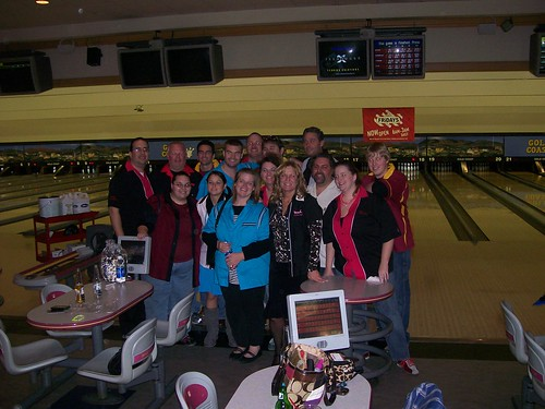 The whole clan clad in Bowling Shirts