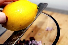 zesting the lemon