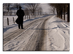 A man with a Black coat 2/3 (Louis Lalibert Photographie) Tags: road shadow canada cold tree nikon trail qubec charlevoix sunnyday baiestpaul winterroad photoshopcs3 nikond40x louislalibertphotographie amanwithablackcoat