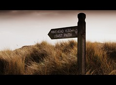 long walk round (romorga) Tags: shellbay studland dorset uk southwestcoast south walk backpack bh pooleharbour signpost coastal path beach winter dune sand grass canon 450d eos romorga 2009 british england southernengland centralsouthernengland central iamflickr digitalcameraclub