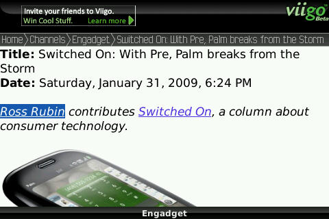 Viigo RSS Reader on Blackberry Bold