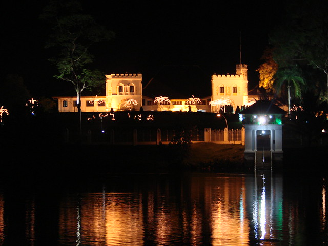 Fort Margherita at night across the water