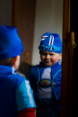 Birth of a superhero... (Way Ahead Photography) Tags: sportacus lazytown costume boy superhero mirror reflection fancy dress blue childhood dream ambition super hero photographer photography hythe kent folkestone sandgate canterbury ashford way ahead luke yates wedding portrait fashion art commercial