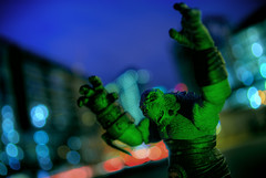 A Death at the Quick Stop (David R Preston Photography) Tags: seattle longexposure sky toy actionfigure washington bokeh wink hellboy hdr guesswhereseattle seattleunguessed 5xp pentaxk10d 365toyproject davidrprestonphotography
