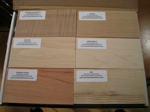 6 of the hardwood samples in the 30pc set from Woodworkers Source