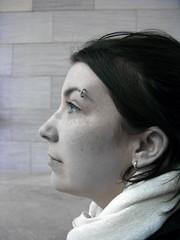 2009 02 22 - 2377b - Washington DC - Lindsey's piercing (thisisbossi) Tags: girls blackandwhite bw usa washingtondc us blackwhite gallery unitedstates faces heads piercings selectivecolor eyebrowpiercings selectivecoloring lindseyboyle