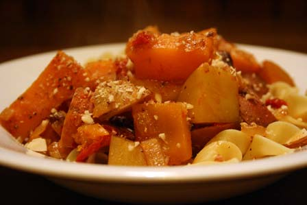 Braised Root Vegetables and Pasta